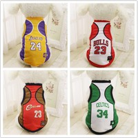 Sports Dog Vest Cat Shirt Pet Clothing Summer Cotton Sweatshirt Football World Cup Jersey Dog Clothes For Small Medium Large Dog