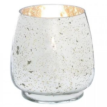 Distressed Silver Mercury Glass Candle Holder - 6.5 inches