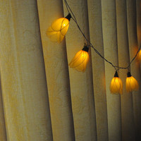 20 yellow Tulip flower string light patio hanging wedding living room bedroom party rustic country home garland