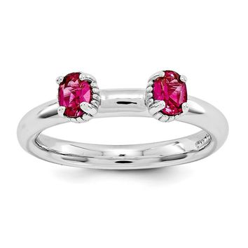 Sterling Silver Stackable Expressions Created Ruby Two Stone Ring