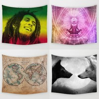 Hyha Bob Marley Tapestry Meditation Seat Polyester Fabric World Map Wall Hanging Decor Wolf Aniaml Curtains Plus Table Cover