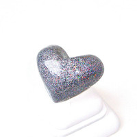 Big silver heart ring - big sparkly heart ring - glitter resin ring - resin heart ring - big fun ring - by Sparkle City Jewelry