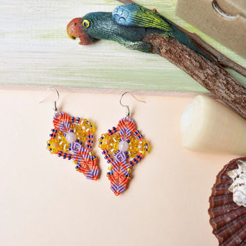 Bright micro macrame earrings, orange lilac orchid yellow earrings, bohemian earrings, boho chic, beaded earrings, summer trends