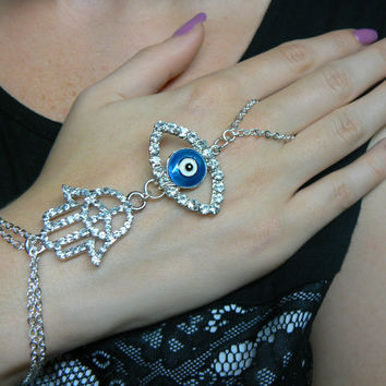 evil eye hamsa slave bracelet RHINESTONE  peace sign evil eye  Fatima protection