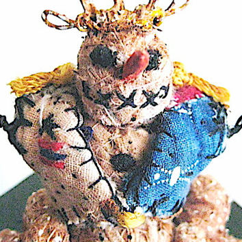 OOAK Primitive Folk Art Snowman Vignette--The Snow Juggling Prince on Painted Box w/sack of 12 Primitive Snowball Ornaments-Original Design
