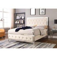 Best Master Furniture Tracy Cream Tufted Velvet Fabric with Chrome, E. King Bed - Walmart.com