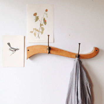 Vintage Handmade Wood Coat Rack - abstract, jewelry rack, towel rack