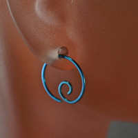 Niobium Hoop Earrings - Niobium Earrings - Sensitive Ears - Nickel Free Niobium Jewelry - Mens -Blue - Gold - Rose - Green - Black -