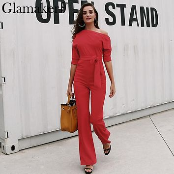 Glamaker Cold shoulder bandage jumpsuit Elegant slim brief winter jumpsuit romper Work office business long pants playsuit 2017