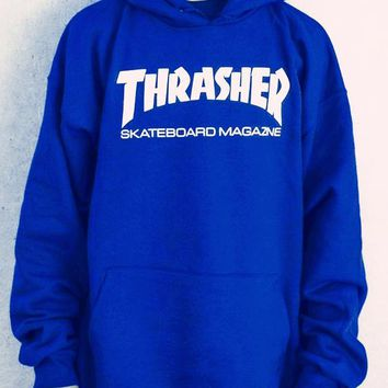 ThrasherMen and women with the flame hooded couples sweater white letters Blue