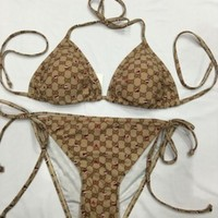 Gucci Sexy Ladies Halter GG Letter Print Bottom Side Knot Two Piece Bikini Swimsuit Bathing
