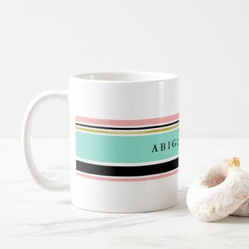 Mint & Blush Stripes Custom Name Coffee Mug