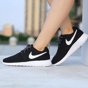 """""""NIKE"""" Roshe One Fashion And Classic Shoes Women Men Casual Sport Shoes Sneakers Black+white hook B"""