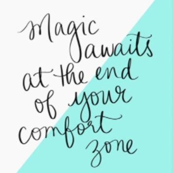 Magic Awaits At The End Of Your Comfort Zone Art Print in White and Aqua