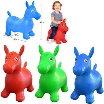 NEW Kids Animal Space Hopper Inflatable Jumping Horse Ride On Bouncy Play Toys - Large Size