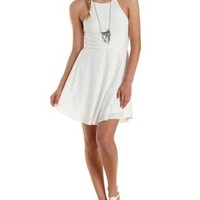 White Strappy Eyelet Skater Dress by Charlotte Russe
