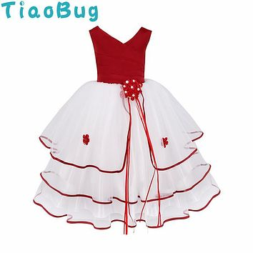 TiaoBug V-neck Backless Flower Girl Dresses Tiered Girls Pageant Dresses Ball Gown Real Party Communion Dress for Little Girls