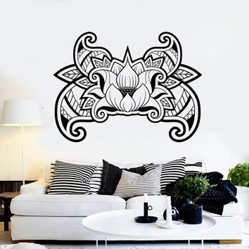 Vinyl Wall Decal Lotus Flower Blossom Buddhism Yoga Stickers Unique Gift (ig4058)