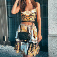 Spring and summer knit dress sexy new short skirt paisley print skirt female