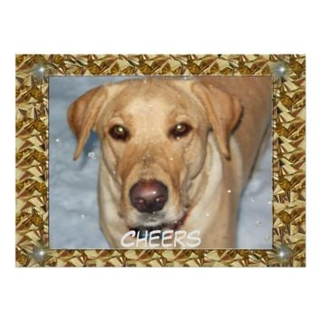 Cheers Golden Lab Bows Border 5.5x7.5 Paper Invitation Card
