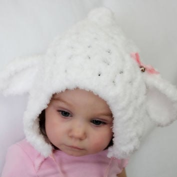 Lamb baby/child crochet bonnet, Easter lamb bonnet, MADE TO ORDER