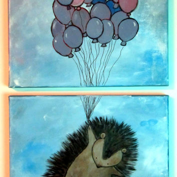 Children's Wall Art, Porcupine Hedgehog Woodland Nursery Painting, Original Acrylic Artwork for Kids