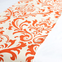Fall table runner - Sweet potato and natural damask - Premier Prints - Kitchen table runner - Dining table runner - Fall decor - Wedding