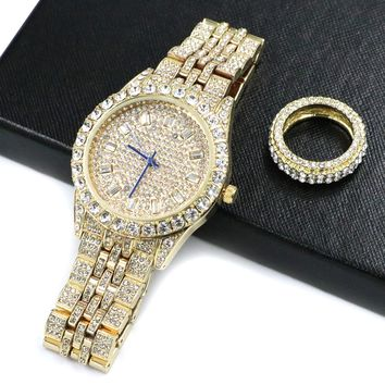 HIPHOP ICED OUT RAONHAZAE JAY Z GOLD FINISHED LAB DIAMOND WATCH & RING SET.