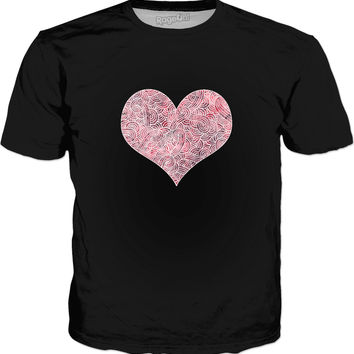 Burgundy red and white swirls doodles heart Classic T-Shirt Black