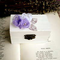 Lavender Engagement Ring Box - White  Wooden Proposal Ring Box Small  with Lilac Flowers