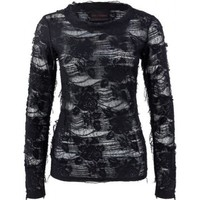 Goth clothing: destroyed long-sleeve top black rose