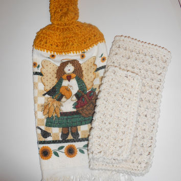 Hanging Towel, Dish Cloths, Crochet Kitchen Set, Sunflowers, Autumn Angel