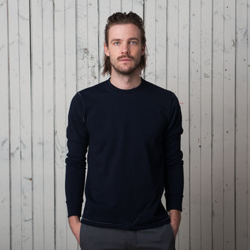 The Signature T Long Sleeve   Indigo French Terry