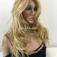 Blond Balayage Highlights 18 inches | Swiss Front Lace Wig | Long Soft Layered Hair | Ellana