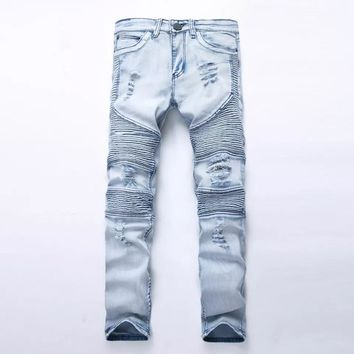 Men's Ripped Destroyed Distressed Slim Fit Jeans Fashionable colorful Super Comfy Stretch Skinny Fit Denim Jeans