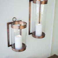 Antique Copper & Glass Wall Sconce - Large