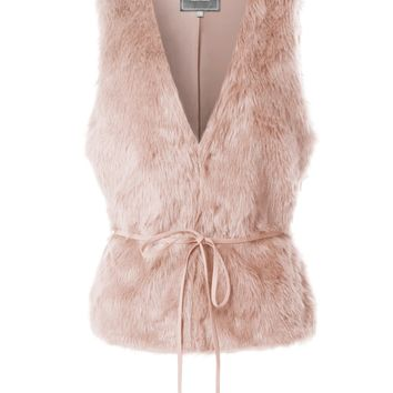 LE3NO Womens Cozy Faux Fur Sleeveless Vest with Removable Belt