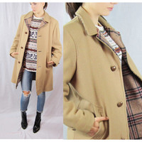 70s COAT heavy BROWN plaid OVERSIZED os