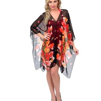 Black & Red Floral Sarah Convertible Swim Cover Up