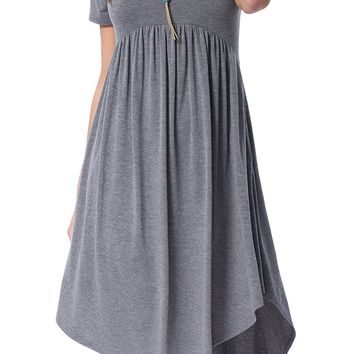 Chicloth Grey Short Sleeve High Low Pleated Casual Swing Dress