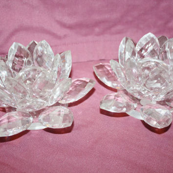 Vintage  Lead Crystal Flower Candle Holder Home Decor Collectible