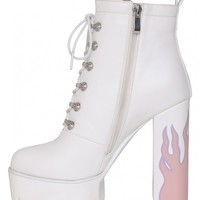 Hustler Platform Heeled Ankle Boots With Flame Detail In White PU