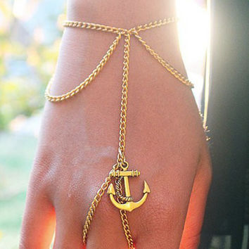 Golden Anchor Detail Finger Ring Chain Bracelet