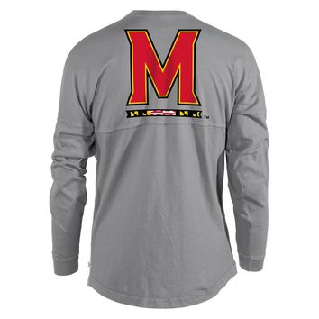 Black White Official NCAA University Of Maryland Terrapins Umd Testudo Victory Song Women's Long Sleeve Spirit Wear Jersey Tshi