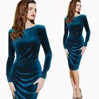 Womens Celeb Long Sleeve Sexy Formal Ball Cocktail Prom Party Evening Gown Dress = 1902116932