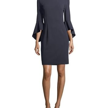 Tahari ASL 3/4-Sleeve Crepe Sheath Dress