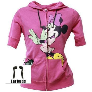 Minnie Mouse   In Awe Juniors Elbow Length Zip Hoodie Buddie