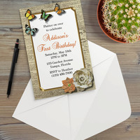 Instant Download - Newspaper Print Butterflies Garden Flowers Rustic Cottage Shabby Chic Party Invitation Template