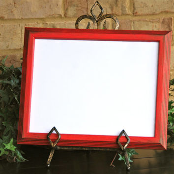 Rustic photo frame: Vintage country cottage chic red 8.5x11 hand-painted decorative wooden wall collage gallery picture frame