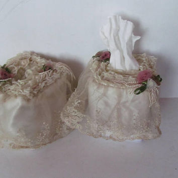 Victorian Lace Tissue Box Holder Kleenex Box Holder Edwardian Lace Embroidery Victorian Decor Edwardian Decor Roses and Lace Shabby Decor